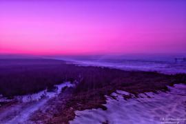 Zimowy zachód Słońca z widokiem na Pustynię Błędowską...